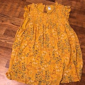 Yellow floral tank top old navy